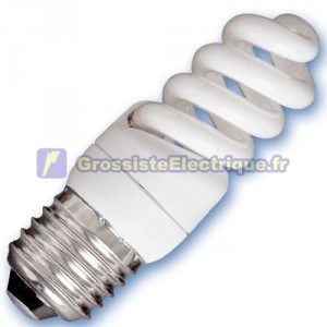 Encadré 10 ampoules basse consommation 9W E27 2700K microbobine chaud
