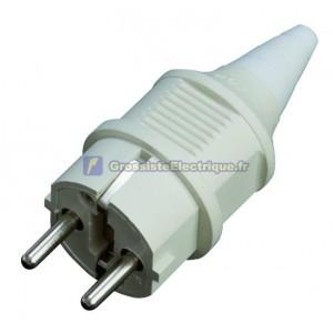 Industrial fiche blanche en caoutchouc étanche IP44 bipolaire TT côté de l'entrée du câble et droit Ø 4,8 mm