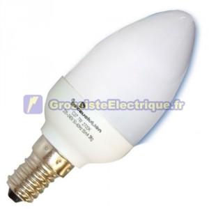 Encadré 10 ampoules basse énergie E14 11W bougie froide 6400K