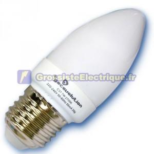 Encadré 10 ampoules basse énergie E27 11W bougie froide 6400K