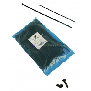 Sachet de 100 unités brides noir, 100% nylon. 80x2, 5