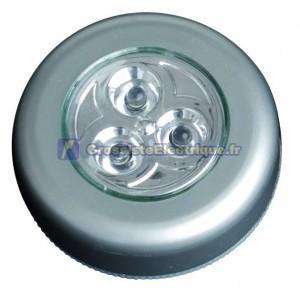 Pushlight de 3 LED lumière blanche. idéal pour les chambres, garages, escaliers, caravanes, campings, etc. 3 R 03 AAA.