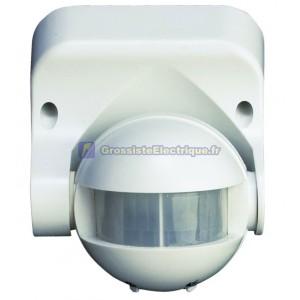 Détecteur de mouvement avec une superficie de 180 ° (horizontal) et 60 ° (vertical). blanc.