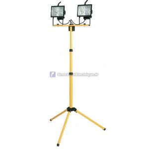 Ampoule halogène à double cordon avec trépied télescopique mobile et la puissance de brancher 2P + TT côté.