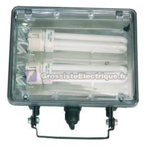 Mise au point avec des variables de serrage rotatifs ampoules, PL2x26W, 230V.-IP44, couleur noir.