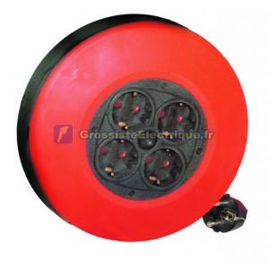 Cordon d'alimentation extensible avec 4 prises 2P à brancher côté + TT, 5 mètres. (3x1, 0mm)