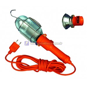Industriel lampe portable avec écran métallique et bouton-poussoir, max. 60W/230V. 50Hz. 5 mètres.