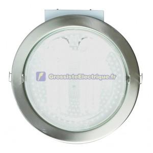 Downlight encastré rond 230V directe nickel satiné actuelle, 2x25W.