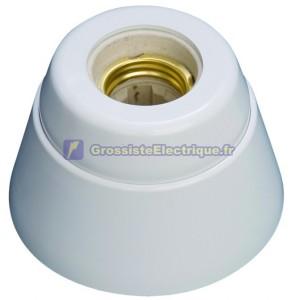 Douille E27 droite blanche. Résine d'urée et intérieur en porcelaine