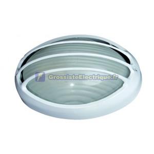 Appliquer semi-ovale en aluminium E27, blanc.