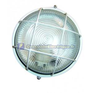 Appliquer grille ronde en aluminium, E27, max. 230C.IP44 60W blanc.