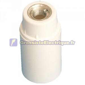 Douille E14 blanc, lisse 2A 250V bakélite