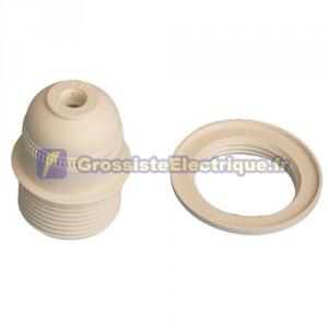 Douille E27 blanc avec rondelle, 4A 250V thermoplastique