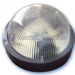Appliquer mateial rond en plastique isolante diffuseur en verre, E27.Máx.60W.230V. IP44, noir.