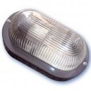 Appliquer plastique ovale mateial isolant diffuseur en verre, E27.Máx.60W.230V. IP44, Noir.