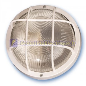 Appliquer mateial rond en plastique isolante diffuseur en verre, E27.Máx.60W.230V. IP44, blanc