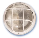 Appliquer plastique rond mateial isolant diffuseur en verre, E27.Máx.60W.230V. IP44, Blanc