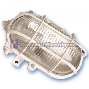 Appliquer mateial plastique ovale isolante diffuseur en verre, E27.Máx.60W.230V. IP44, blanc.
